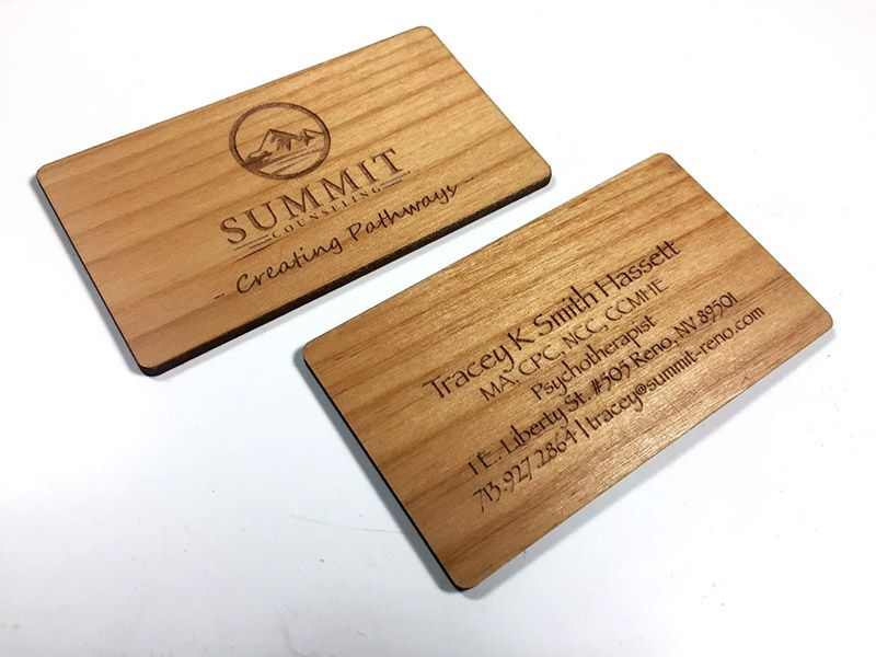 Wood business cards laser engraved starting at 130 each alder wood reheart Image collections