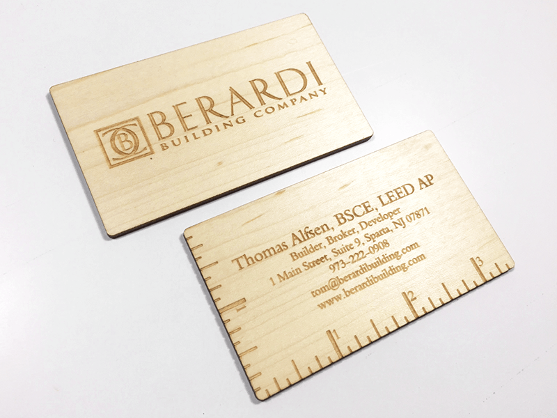 Wood business cards laser engraved starting at $1.30 each
