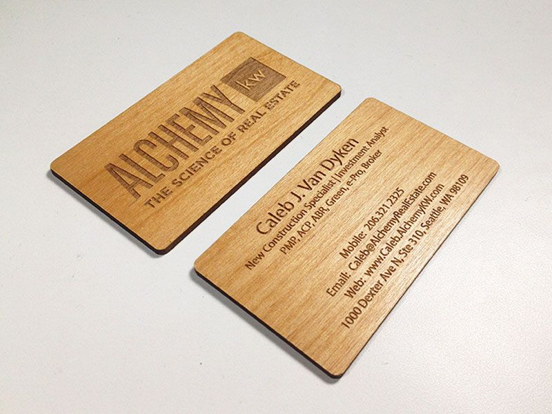 Laser engraved business cards on wood metal plastic starting at black plastic reheart Images
