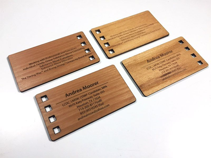Laser engraved business cards on wood metal plastic starting at alder wood reheart Images