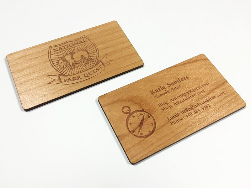 Wood business cards laser engraved starting at 130 each alder wood reheart Choice Image