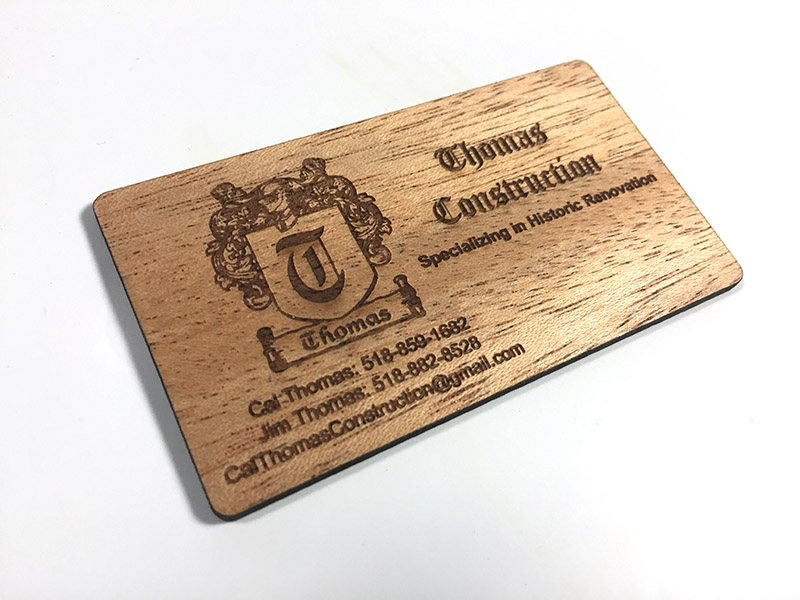 Wood business cards laser engraved starting at 130 each mahogany wood reheart Images