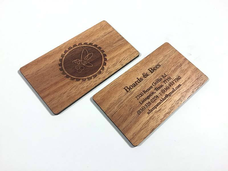 Laser engraved business cards on wood metal plastic starting at grey plastic reheart Images