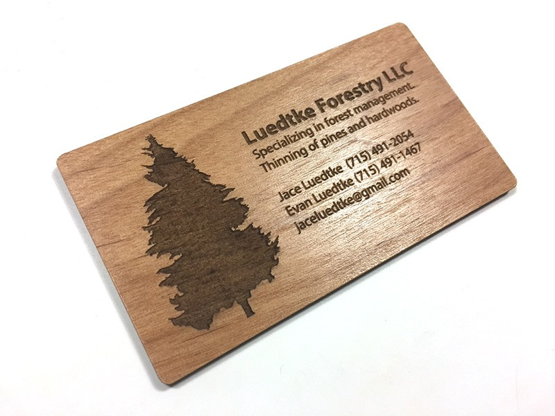 Laser engraved business cards on wood, metal, plastic - starting ...