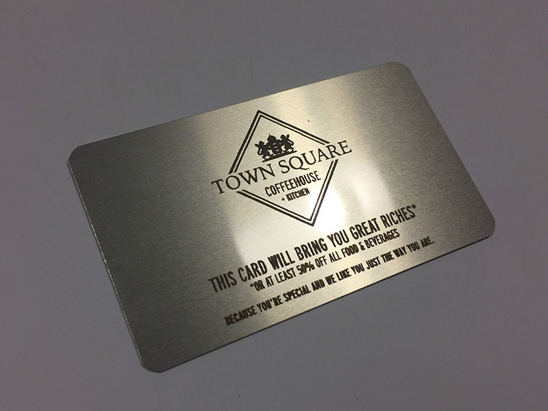 Laser engraved business cards on wood metal plastic starting at silver to black metal colourmoves