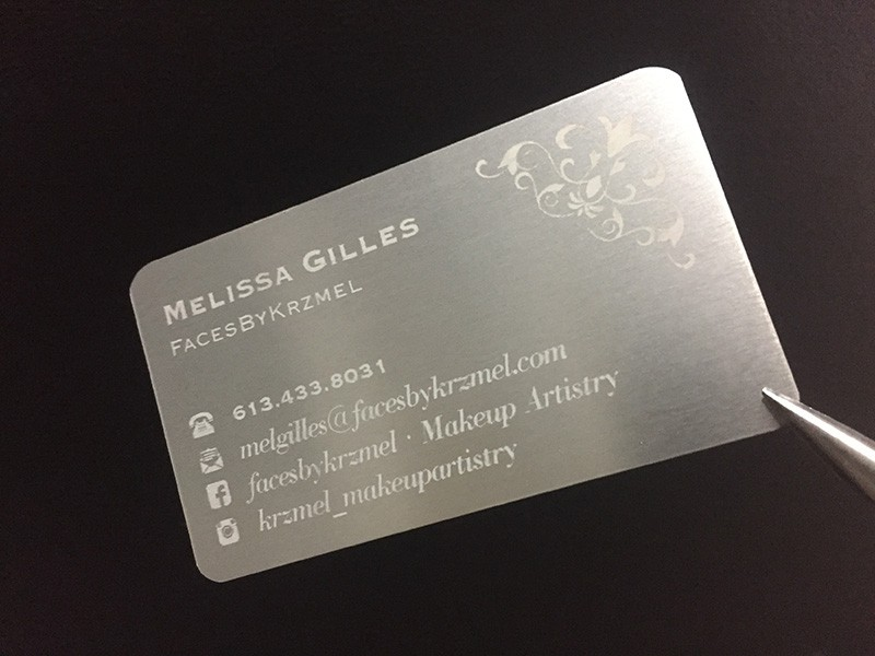 Laser engraved business cards on wood metal plastic starting at silver to silver metal reheart Images