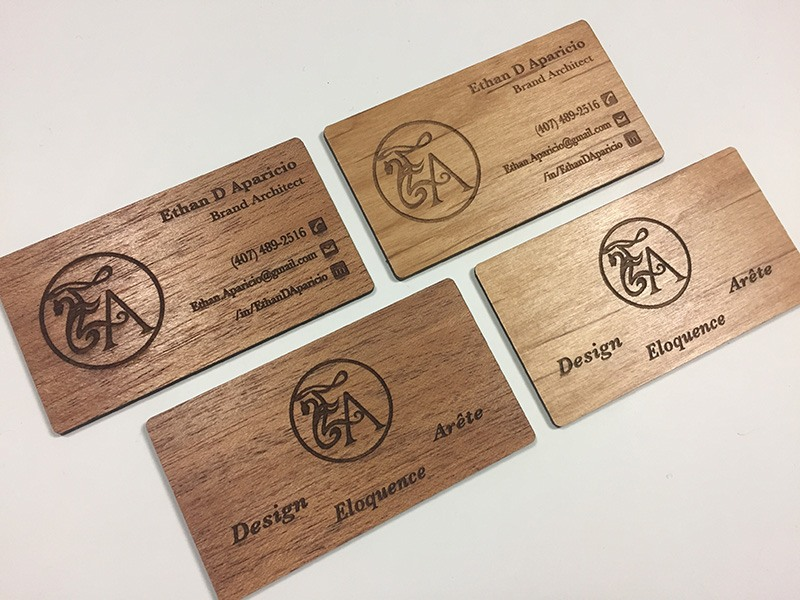 Wood business cards laser engraved starting at 130 each mahogany alder wood colourmoves