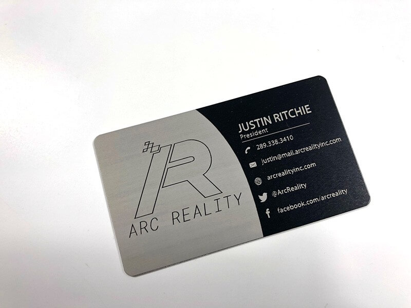 Metal business cards are perfect for a professional and modern look silver to black metal colourmoves